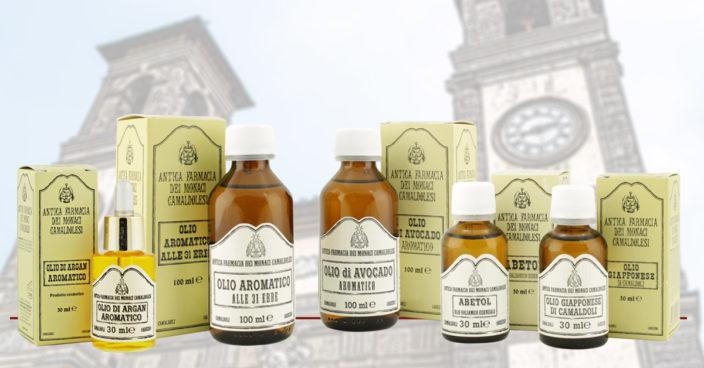 Oli essenziali dell'Antica Farmacia di Camaldoli: Abetol, Olio giapponese, Olio alle 31 erbe, Olio di Avocado, Olio di Argan